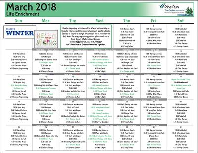 March 2018 The Garden Life Enrichment Calendar