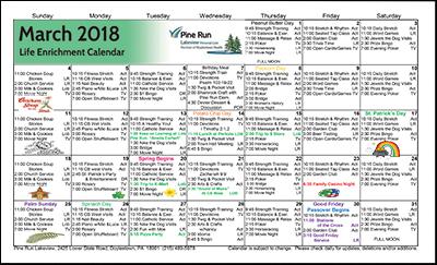 March 2018 Lakeview Life Enrichment Calendar