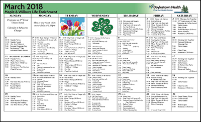 March 2018 Pine Run Health Center Maple & Willows Life Enrichment Calendar