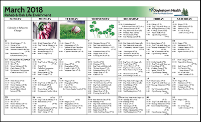March 2018 Pine Run Health Center Rehab & Oak Life Enrichment Calendar