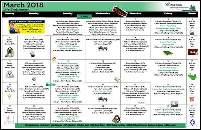 March 2018 Pine Run Village Life Enrichment Calendar