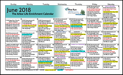 June 2018 The Arbor Life Enrichment Calendar