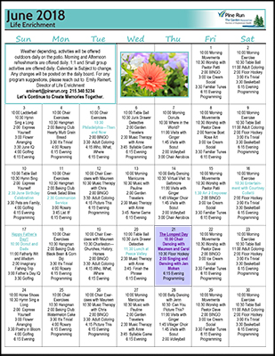 June 2018 The Garden Life Enrichment Calendar