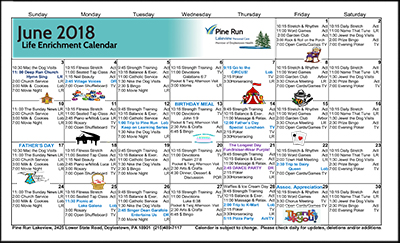 June 2018 Lakeview Life Enrichment Calendar