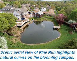 Scenic aerial view of Pine Run highlights natural curves on the blooming campus.