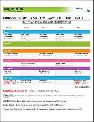 August 2018 Fitness Calendar