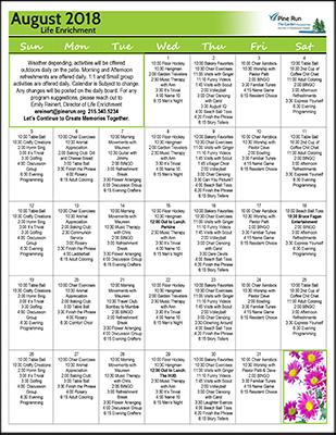 August 2018 The Garden Life Enrichment Calendar