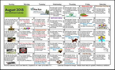 August 2018 Lakeview Life Enrichment Calendar