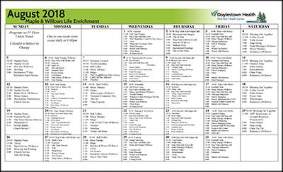 August 2018 Pine Run Health Center Maple & Willows Life Enrichment Calendar