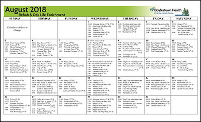 August 2018 Pine Run Health Center Rehab & Oak Life Enrichment Calendar