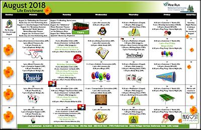 August 2018 Pine Run Village Life Enrichment Calendar