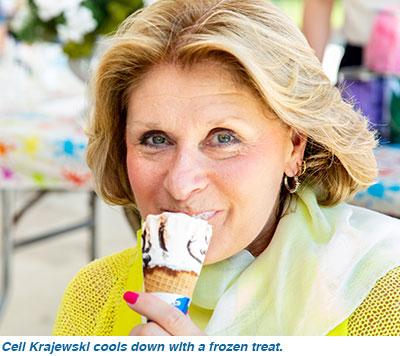 Ceil Krajewski cools down with a frozen treat.