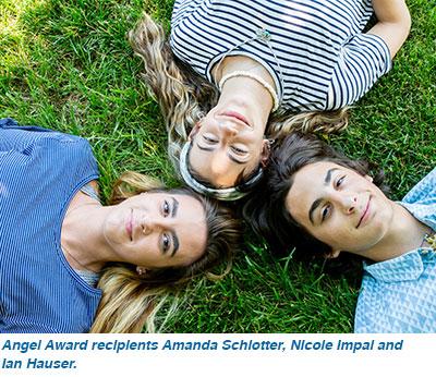 Angel Award recipients Amanda Schlotter, Nicole Impal and Ian Hauser.
