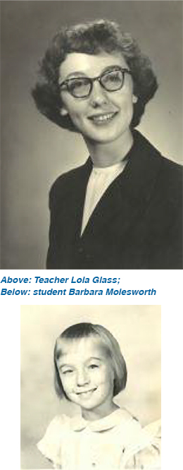Teacher Lola Glass and student Barbara Molesworth