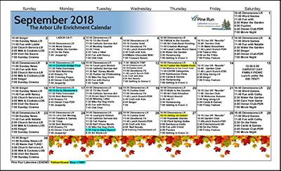 September 2018 The Arbor Life Enrichment Calendar