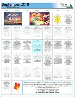 September 2018 The Garden Life Enrichment Calendar