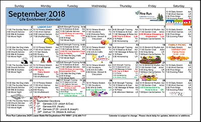 September 2018 Lakeview Life Enrichment Calendar