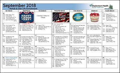 September 2018 Pine Run Health Center Rehab & Oak Life Enrichment Calendar