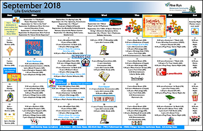 September 2018 Pine Run Village Life Enrichment Calendar