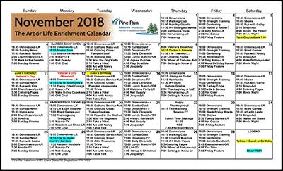 November 2018 The Arbor Life Enrichment Calendar