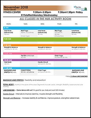November 2018 Fitness Calendar