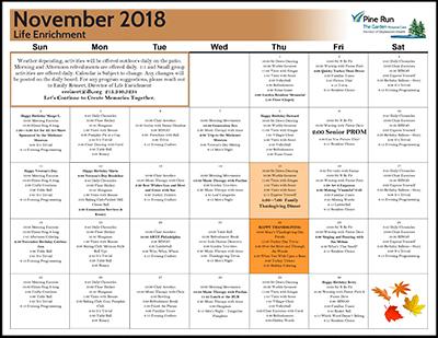November 2018 The Garden Life Enrichment Calendar