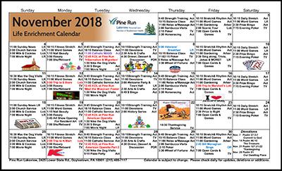 November 2018 Lakeview Life Enrichment Calendar