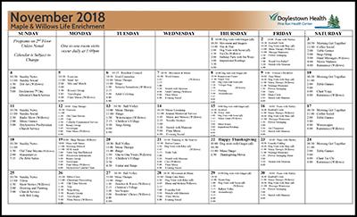 November 2018 Pine Run Health Center Maple & Willows Life Enrichment Calendar