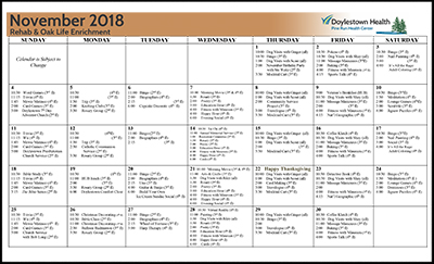 November 2018 Pine Run Health Center Rehab & Oak Life Enrichment Calendar