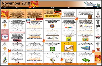 November 2018 Pine Run Village Life Enrichment Calendar