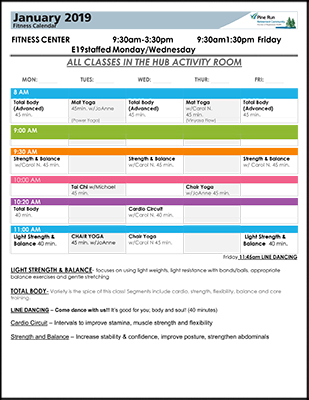 January 2019 Fitness Calendar