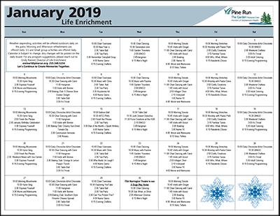 January 2019 The Garden Life Enrichment Calendar