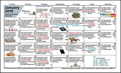 January 2019 Lakeview Life Enrichment Calendar