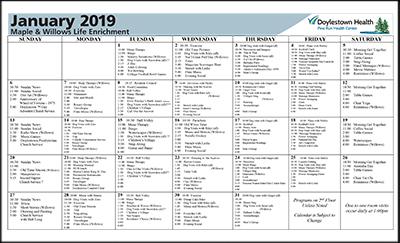 January 2019 Pine Run Health Center Maple & Willows Life Enrichment Calendar
