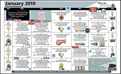 January 2019 Pine Run Village Life Enrichment Calendar