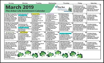 March 2019 The Arbor Life Enrichment Calendar
