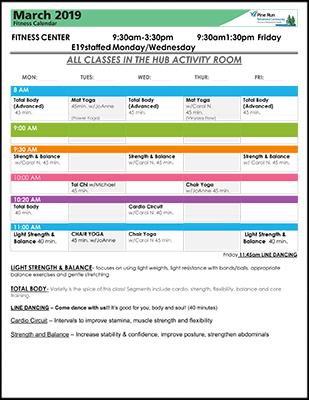 March 2019 Fitness Calendar