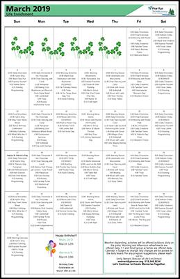 March 2019 The Garden Life Enrichment Calendar