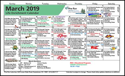 March 2019 Lakeview Life Enrichment Calendar