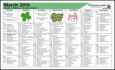 March 2019 Pine Run Health Center Maple & Willows Life Enrichment Calendar