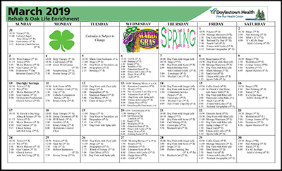 March 2019 Pine Run Health Center Rehab & Oak Life Enrichment Calendar