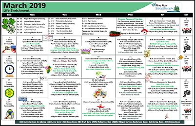March 2019 Pine Run Village Life Enrichment Calendar