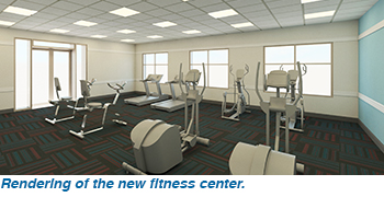 Rendering of the new fitness center..