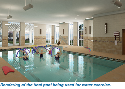 Rendering of the final pool being used for water exercise.