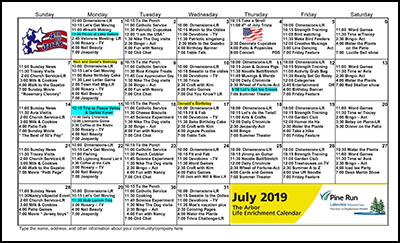 July 2019 The Arbor Life Enrichment Calendar