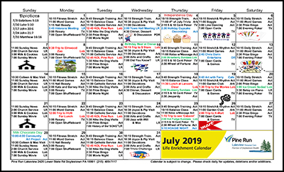 July 2019 Lakeview Life Enrichment Calendar