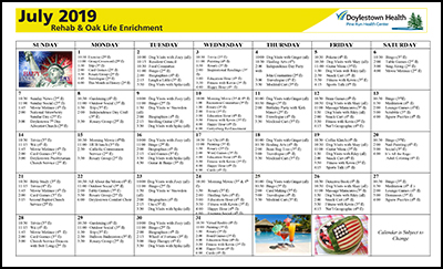 July 2019 Pine Run Health Center Rehab & Oak Life Enrichment Calendar