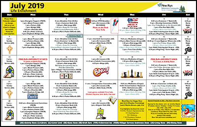 July 2019 Pine Run Village Life Enrichment Calendar
