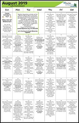 August 2019 The Garden Life Enrichment Calendar