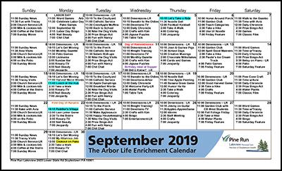 September 2019 The Arbor Life Enrichment Calendar